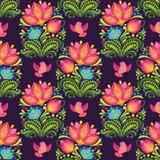 Διανυσματικό άνευ ραφής floral σχέδιο στο φολκλορικό ύφος Ελεύθερη απεικόνιση δικαιώματος