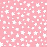 Διανυσματικό άσπρο άνευ ραφής σχέδιο αστεριών που απομονώνεται στο ρόδινο υπόβαθρο ελεύθερη απεικόνιση δικαιώματος