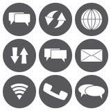Διανυσματικό άσπρο σύνολο εικονιδίων επικοινωνίας Στοκ Εικόνες