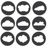Διανυσματικό άσπρο σύνολο εικονιδίων σύννεφων Στοκ Εικόνες