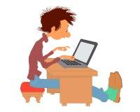Διανυσματικό άτομο με ένα lap-top Στοκ Εικόνα