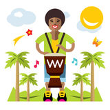 Διανυσματικό άτομο που παίζει Djembe african music Επίπεδη απεικόνιση κινούμενων σχεδίων ύφους ζωηρόχρωμη Στοκ φωτογραφίες με δικαίωμα ελεύθερης χρήσης
