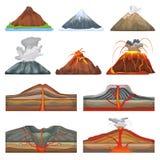 Διανυσματικό έκρηξη ηφαιστείων και volcanism ή σπασμός έκρηξης της φύσης ηφαιστειακός στο σύνολο απεικόνισης βουνών διανυσματική απεικόνιση