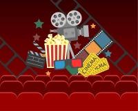 Σχέδιο αφισών κινηματογράφων κινηματογράφων διανυσματικό έμβλημα για την επίδειξη με τις κουρτίνες, καθίσματα, popcorn, εισιτήρια απεικόνιση αποθεμάτων