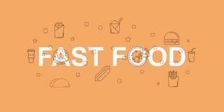 Διανυσματικό έμβλημα γρήγορου φαγητού Λέξη με το εικονίδιο γραμμών Διανυσματική ανασκόπηση Στοκ φωτογραφία με δικαίωμα ελεύθερης χρήσης