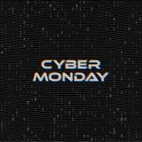 Διανυσματικό έμβλημα Ιστού πώλησης Δευτέρας Cyber στο σκοτεινό υπόβαθρο δυαδικού κώδικα Σε απευθείας σύνδεση έννοια στοιχείων αγο διανυσματική απεικόνιση