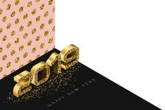 Διανυσματικό έμβλημα καλής χρονιάς 2019 με τους χρυσούς αριθμούς στο τρισδιάστατο isometric ύφος Αφηρημένο χρυσό υπόβαθρο διακοπώ Διανυσματική απεικόνιση