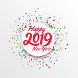 Διανυσματικό έμβλημα καλής χρονιάς 2019 με το κυκλικό υπόβαθρο convetti στοκ φωτογραφία με δικαίωμα ελεύθερης χρήσης