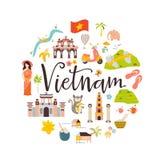 Διανυσματικό έμβλημα κινούμενων σχεδίων του Βιετνάμ Απεικόνιση ταξιδιού απεικόνιση αποθεμάτων