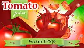 Διανυσματικό έμβλημα προώθησης αγγελιών τρισδιάστατο, ρεαλιστικές ντομάτες που καταβρέχει το πνεύμα Στοκ εικόνα με δικαίωμα ελεύθερης χρήσης