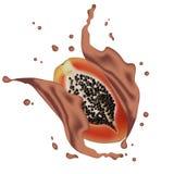 Διανυσματικό έμβλημα προώθησης αγγελιών τρισδιάστατο, ρεαλιστικό papaya ράντισμα με στοκ εικόνα