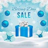 Διανυσματικό έμβλημα πώλησης επόμενης μέρας των Χριστουγέννων με τα κιβώτια δώρων απεικόνιση αποθεμάτων