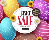 Διανυσματικό έμβλημα πώλησης Πάσχας με τα ζωηρόχρωμα αυγά Πάσχας, τα λουλούδια και το κείμενο πώλησης