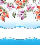 Διανυσματικό έμβλημα των φανταχτερών λουλουδιών Στοκ εικόνα με δικαίωμα ελεύθερης χρήσης