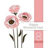 Διανυσματικό έμβλημα χαιρετισμού λουλουδιών με μια ανθοδέσμη του eustoma και της κορδέλλας Διεθνής ημέρα γυναικών ` s Επίπεδο ύφο ελεύθερη απεικόνιση δικαιώματος