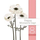 Διανυσματικό έμβλημα χαιρετισμού λουλουδιών με μια ανθοδέσμη των anemones και της κορδέλλας Διεθνής ημέρα γυναικών ` s Επίπεδο ύφ διανυσματική απεικόνιση