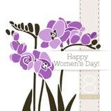Διανυσματικό έμβλημα χαιρετισμού λουλουδιών με μια ανθοδέσμη των freesias και της κορδέλλας Διεθνής ημέρα γυναικών ` s Επίπεδο ύφ ελεύθερη απεικόνιση δικαιώματος