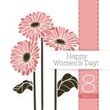 Διανυσματικό έμβλημα χαιρετισμού λουλουδιών με μια ανθοδέσμη των gerberas και της κορδέλλας Διεθνής ημέρα γυναικών ` s Επίπεδο ύφ ελεύθερη απεικόνιση δικαιώματος