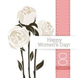 Διανυσματικό έμβλημα χαιρετισμού λουλουδιών με μια ανθοδέσμη των peonies και της κορδέλλας Διεθνής ημέρα γυναικών ` s Επίπεδο ύφο ελεύθερη απεικόνιση δικαιώματος