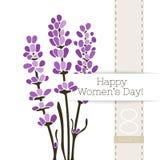 Διανυσματικό έμβλημα χαιρετισμού λουλουδιών με μια ανθοδέσμη lavender και της κορδέλλας Διεθνής ημέρα γυναικών ` s Επίπεδο ύφος ελεύθερη απεικόνιση δικαιώματος