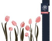 Διανυσματικό έμβλημα χαιρετισμού λουλουδιών με την τουλίπα και την κορδέλλα Διεθνής ημέρα γυναικών ` s Επίπεδο ύφος ελεύθερη απεικόνιση δικαιώματος