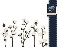 Διανυσματικό έμβλημα χαιρετισμού λουλουδιών με το βαμβάκι και την κορδέλλα Διεθνής ημέρα γυναικών ` s Επίπεδο ύφος ελεύθερη απεικόνιση δικαιώματος