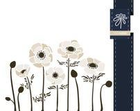 Διανυσματικό έμβλημα χαιρετισμού λουλουδιών με το anemone και την κορδέλλα Διεθνής ημέρα γυναικών ` s Επίπεδο ύφος διανυσματική απεικόνιση