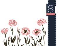 Διανυσματικό έμβλημα χαιρετισμού λουλουδιών με το eustoma και την κορδέλλα Διεθνής ημέρα γυναικών ` s Επίπεδο ύφος διανυσματική απεικόνιση