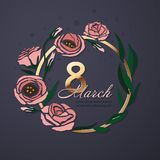 Διανυσματικό έμβλημα χαιρετισμού λουλουδιών με το eustoma και το χρυσό πλαίσιο Διεθνής ημέρα γυναικών ` s Επίπεδο ύφος ελεύθερη απεικόνιση δικαιώματος