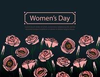 Διανυσματικό έμβλημα χαιρετισμού λουλουδιών με το eustoma στο σκοτεινό υπόβαθρο Διεθνής ημέρα γυναικών ` s Επίπεδο ύφος διανυσματική απεικόνιση