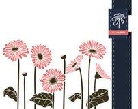 Διανυσματικό έμβλημα χαιρετισμού λουλουδιών με το gerbera και την κορδέλλα Διεθνής ημέρα γυναικών ` s Επίπεδο ύφος διανυσματική απεικόνιση