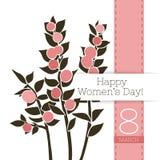 Διανυσματικό έμβλημα χαιρετισμού λουλουδιών με το ruskus και την κορδέλλα Διεθνής ημέρα γυναικών ` s Επίπεδο ύφος διανυσματική απεικόνιση