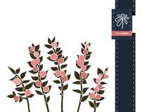 Διανυσματικό έμβλημα χαιρετισμού λουλουδιών με το ruskus και την κορδέλλα Διεθνής ημέρα γυναικών ` s Επίπεδο ύφος απεικόνιση αποθεμάτων