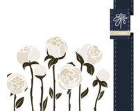 Διανυσματικό έμβλημα χαιρετισμού λουλουδιών με peony και την κορδέλλα Διεθνής ημέρα γυναικών ` s Επίπεδο ύφος ελεύθερη απεικόνιση δικαιώματος
