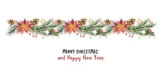 Διανυσματικό έμβλημα Χριστουγέννων Watercolor με τους κλάδους έλατου και τα poinsettias λουλουδιών Στοκ Εικόνες