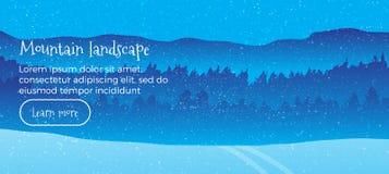 Διανυσματικό έμβλημα Ιστού χειμερινών τοπίων Επίπεδο ύφος οριζόντια απεικόνιση με τα χειμερινά χιονισμένα βουνά Ελεύθερος χρόνος  Στοκ Εικόνες