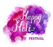 Διανυσματικό έμβλημα φεστιβάλ Holi με την άσπρη εγγραφή στους πορφυρούς, ιώδεις, ιώδεις και ρόδινους λεκέδες watercolor Αφηρημένο Στοκ Εικόνες