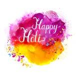 Διανυσματικό έμβλημα φεστιβάλ Holi με την άσπρη εγγραφή στους ρόδινους, ροδανιλίνης και κίτρινους λεκέδες watercolor Αφηρημένος φ Στοκ εικόνες με δικαίωμα ελεύθερης χρήσης
