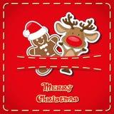 Διανυσματικό έμβλημα: χαριτωμένα ελάφια ειδωλίων, άτομο μελοψωμάτων στην τσέπη τζιν και συρμένη χέρι Χαρούμενα Χριστούγεννα κειμέ Στοκ εικόνα με δικαίωμα ελεύθερης χρήσης