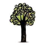 Διανυσματικό δέντρο συμβόλων στο απομονωμένο υπόβαθρο Στοκ Εικόνες
