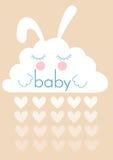 Διανυσματικό λαγουδάκι σύννεφων με το μωρό λέξης ελεύθερη απεικόνιση δικαιώματος