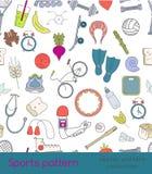 Διανυσματικό αθλητικό άνευ ραφής σχέδιο των εικονιδίων περιλήψεων Στοκ Εικόνες