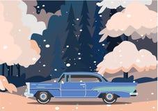 Διανυσματικό αναδρομικό αυτοκίνητο Καθιερώνον τη μόδα επίπεδο σχέδιο τουρισμού Στοκ φωτογραφίες με δικαίωμα ελεύθερης χρήσης