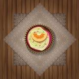 Διανυσματικό αναδρομικό cupcake σε μια πετσέτα Στοκ Φωτογραφίες