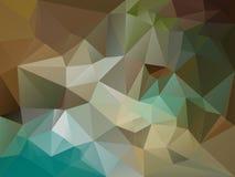 Διανυσματικό ανώμαλο υπόβαθρο πολυγώνων με ένα σχέδιο τριγώνων στο καφετί, μπεζ, χακί, μπλε, τυρκουάζ, πράσινο χρώμα ελεύθερη απεικόνιση δικαιώματος