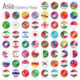 Διανυσματικό ασιατικό σύνολο εθνικών σημαιών Στοκ Εικόνες