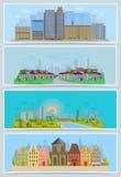 Διανυσματικό αστικό τοπίο πόλεων εικονικής παράστασης πόλης με τα κτήρια και τα σπίτια στην οδό της καθορισμένης απεικόνισης down ελεύθερη απεικόνιση δικαιώματος