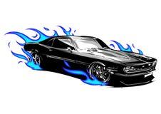 Διανυσματικό αυτοκίνητο μυών με την τρελλή φυλή φλογών ελεύθερη απεικόνιση δικαιώματος