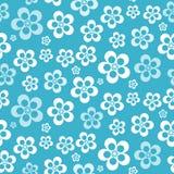 Διανυσματικό αφηρημένο αναδρομικό άνευ ραφής μπλε σχέδιο λουλουδιών Στοκ Εικόνες