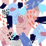 Διανυσματικό αφηρημένο καλλιτεχνικό υπόβαθρο Κολάζ ύφους της Μέμφιδας Ελεύθερα κτυπήματα πινέλων Θερινή καθιερώνουσα τη μόδα απει απεικόνιση αποθεμάτων